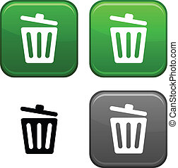 Recycle bin button. - Recycle bin square buttons. Black icon...