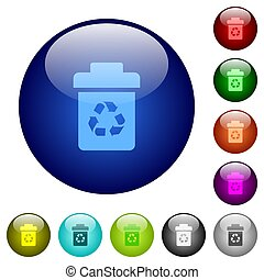 Recycle bin icons on round glass buttons in multiple colors. Arranged layer structure