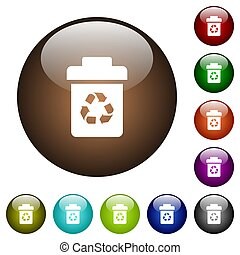 Recycle bin color glass buttons - Recycle bin white icons on...