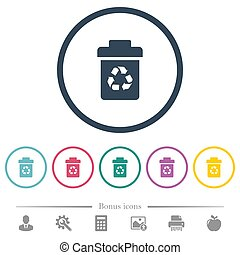 Recycle bin flat color icons in round outlines. 6 bonus...