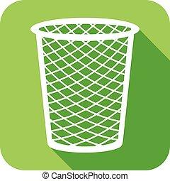 recycle bin flat icon (wastebasket)