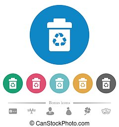 Recycle bin flat round icons - Recycle bin flat white icons...