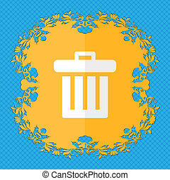 Recycle bin. Floral flat design on a blue abstract background with place for your text.