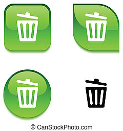 Recycle bin. glossy button. - Recycle bin. glossy vibrant...