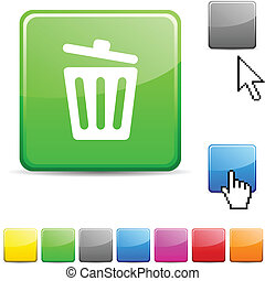 Recycle bin glossy button.