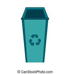 Recycle bin icon, flat style