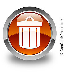Recycle bin icon glossy brown round button