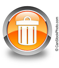 Recycle bin icon glossy orange round button