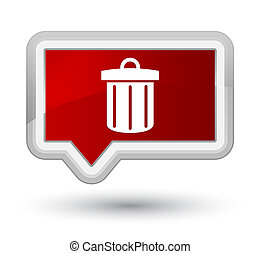 Recycle bin icon prime red banner button