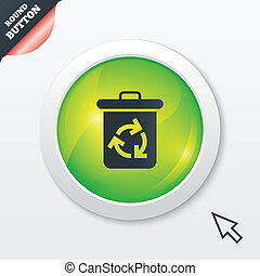Recycle bin icon. Reuse or reduce symbol. Green shiny button...