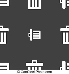Recycle bin icon sign. Seamless pattern on a gray background.