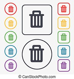Recycle bin icon sign. symbol on the Round and square buttons with frame. Vector