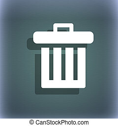 Recycle bin icon symbol on the blue-green abstract background with shadow and space for your text.