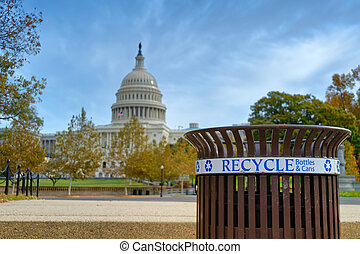 Recycle bin in front of the U.S. Capitol Building