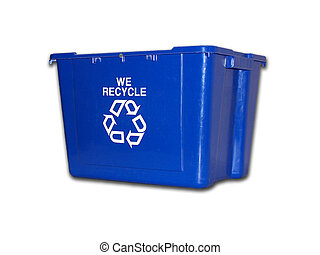 Isolated blue plastic recycle bin.