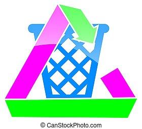 Recycle bin - recycle bin gloss effect paper strip design.