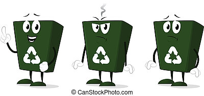 Recycle bin mascot angry, sad and happy vector cartoon illustration