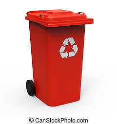 Recycle bin - Red recycle bin isolated on white background...