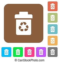 Recycle bin flat icons on rounded square vivid color backgrounds.