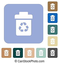 Recycle bin white flat icons on color rounded square backgrounds