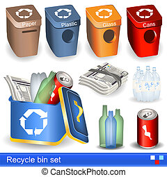 recycle bin set - Illustration of recycle bin icons set