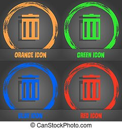 Recycle bin sign icon. Symbol. Fashionable modern style. In the orange, green, blue, red design. Vector