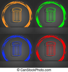 Recycle bin sign icon. Symbol. Fashionable modern style. In the orange, green, blue, red design.