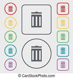 Recycle bin sign icon. Symbol. Symbols on the Round and square buttons with frame. Vector