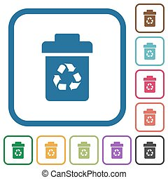 Recycle bin simple icons in color rounded square frames on white background