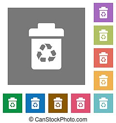 Recycle bin square flat icons - Recycle bin flat icons on...