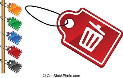 Recycle bin. tags.
