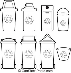the collection of recycle bins isolate on white