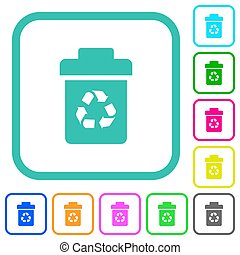 Recycle bin vivid colored flat icons in curved borders on white background