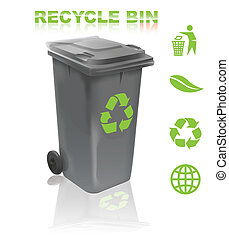 Recycle bin with environmental awareness theme symbols