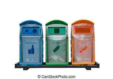 Recycle bins different colored with isolated on white background
