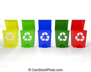 recycle bins in yellow, green, blue and red