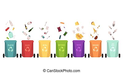 Recycle bins set and falling garbage types, separation of waste on different colored containers for recycling.