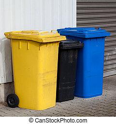Recycle Bins. Three plastic bins