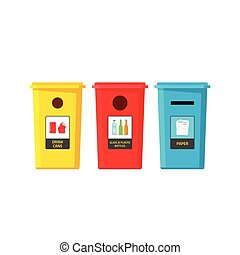 Recycle bins vector isolated on white, flat recycling trash containers