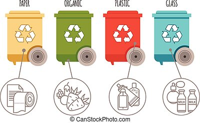 Recycle bins. Waste management and recycle concept. Colored bins with waste types
