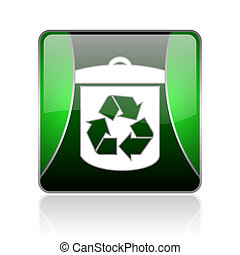 recycle black and green square web glossy icon