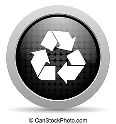 recycle black circle web glossy icon