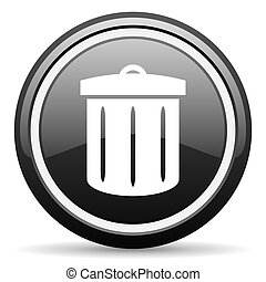 recycle black glossy icon on white background