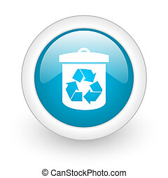 recycle blue circle glossy web icon on white background
