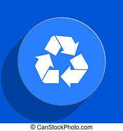recycle blue web flat icon - blue web pushbutton
