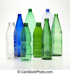 Recycle bottles isolated on a white background