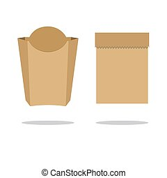 Recycle brown paper bag. Stock flat vector illustration.