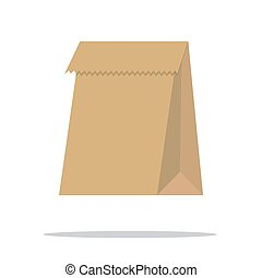 Recycle brown paper bag. Vector.
