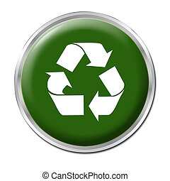 Recycle Button - Green button with the symbol for recycling