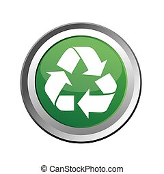 Recycle Button Isolated on White
